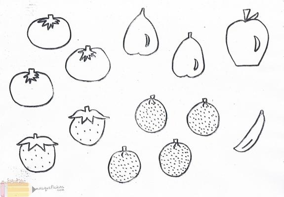 Conjuntos de frutas para colorear - Imagui