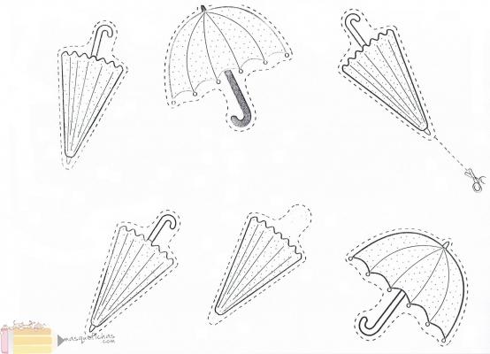 Dibujos De Paraguas Para Colorear E Imprimir: Paraguas Abierto Cerrado Para Colorear